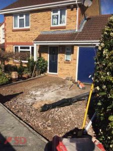 Preparation for a new block paving driveway in Bristol