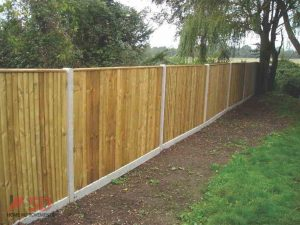 Wooden Fencing With Concreete Posts and Gravel Boards