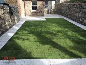 New Lawn and Granite Flagstones Pathways