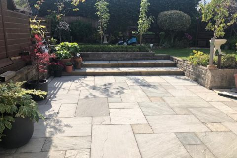 Indian Sandstone Patio with Treated Sleepers in Bishopsworth, Bristol
