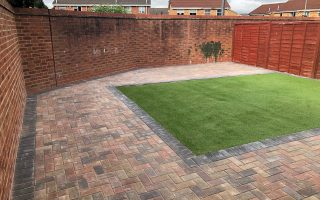 New Paved Patio With Astro Turf in Bristol