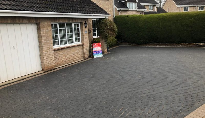 Charcoal Block Paving Driveway with Buff Border in Longwell Green, Bristol