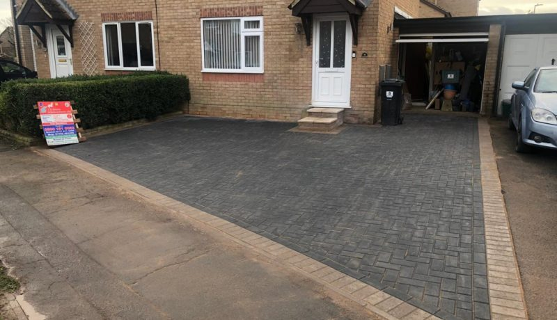 Charcoal Block Paving Driveway with Buff Border in Bristol