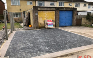 Charcoal Block Paved Driveway with Double Border in Yate, Bristol