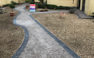 Natural Grey and Charcoal Paved Pathway in Iron Acton, Bristol
