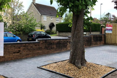 Paved Footpaths with Graveled Areas in Longwell Green