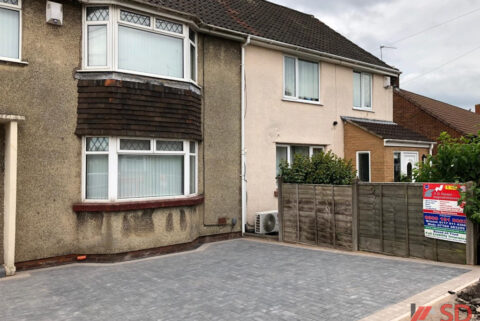 Charcoal Block Paved Driveway with Buff Border and Dropped Kerb in Downend, Bristol