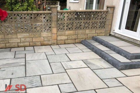 Indian Sandstone Patio with Steps in Longwell Green, Bristol