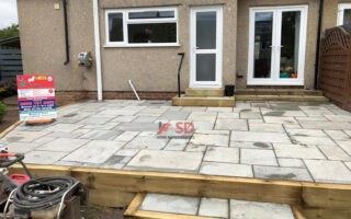 Raised Patio with Treated Sleepers in Longwell Green, Bristol