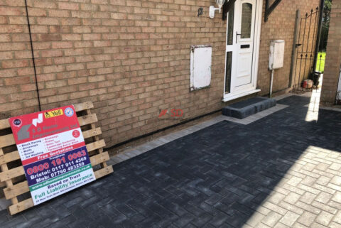 Charcoal Block Paved Driveway with Step and Double Natural Grey Border in Longwell Green