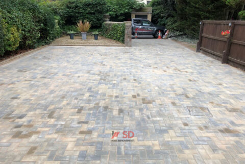 Block Paved Driveway with Bull-Nose Edged Doorstep in Longwell Green