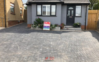 Charcoal Block Paved Border with Natural Grey Border in Longwell Green, Bristol