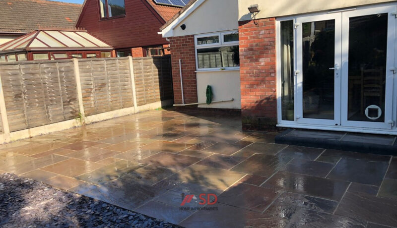 Indian Sandstone Patio with Flint Stone Area in Longwell Green